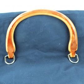 2 Anses plates plastique noir, poignées sac maroquinerie 15 cm