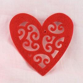 Coeur découpé feutrine décoration