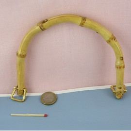 Bamboo round bag purse  handle 17 cms.