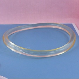 Transparent plastic round bag purse  handle 13 cms.