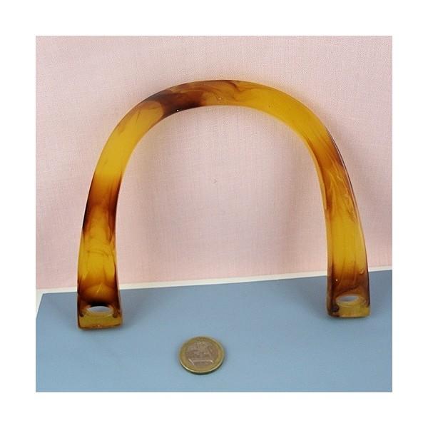 Anse plates plastique écaille poignée sac maroquinerie 16 cm