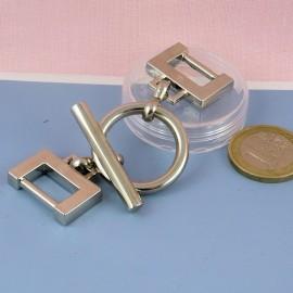 Fermoir métallique deux parties fournitures maroquinerie, 2 parties, 2,7 cm.