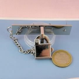 Fermoir métallique à cadenas fournitures maroquinerie, 2 parties, 5 cm.
