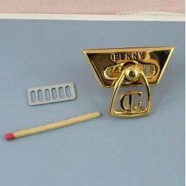Metal purse twist lock Hermes style