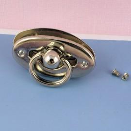 Fermoir métallique anneau à rabat fournitures maroquinerie, 2 parties, 2,7 cm.