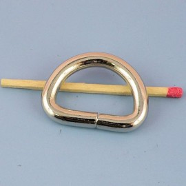 Demi anneau, attache D, boucle métal fournitures maroquinerie 28 mm.