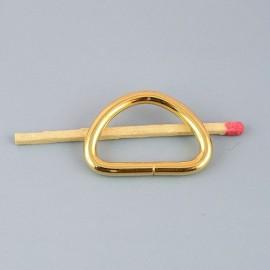 Demi anneau attache D, boucle métal fournitures maroquinerie 26 mm.