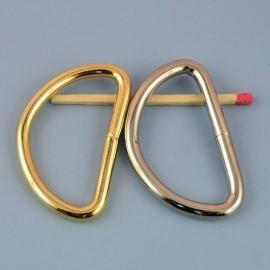 Demi anneau matériel fabrication sac, attache D, boucle métal fournitures maroquinerie 39 mm.