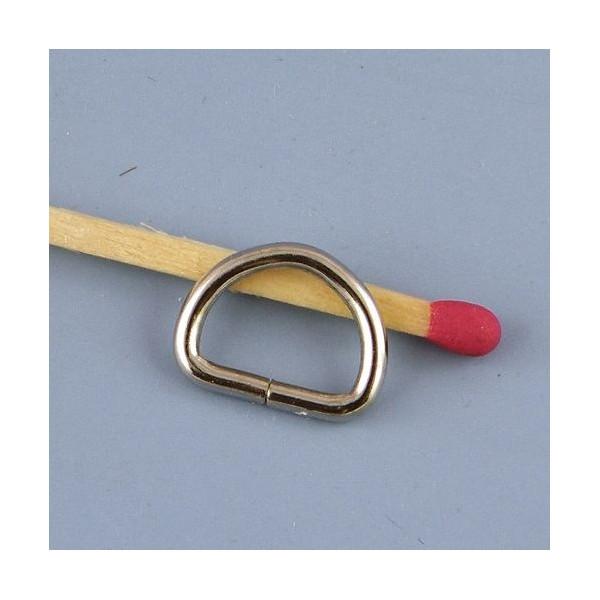 Demi anneau, attache D, boucle métal fournitures maroquinerie 13 mm.